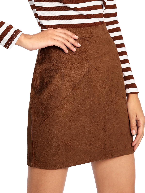 60s Skirts | 70s Hippie Skirts, Jumper Dresses MAKEMECHIC Womens Zipper Back A-line Bodycon Mini Faux Suede Corduroy Skirt $14.99 AT vintagedancer.com