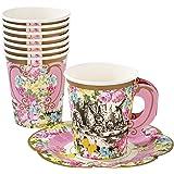 会说话的桌子爱丽丝梦游仙境派对用品— 茶杯和碟子套装— 非常适合小哈特茶派对、生日派对和婴儿派对用品—纸,12 件