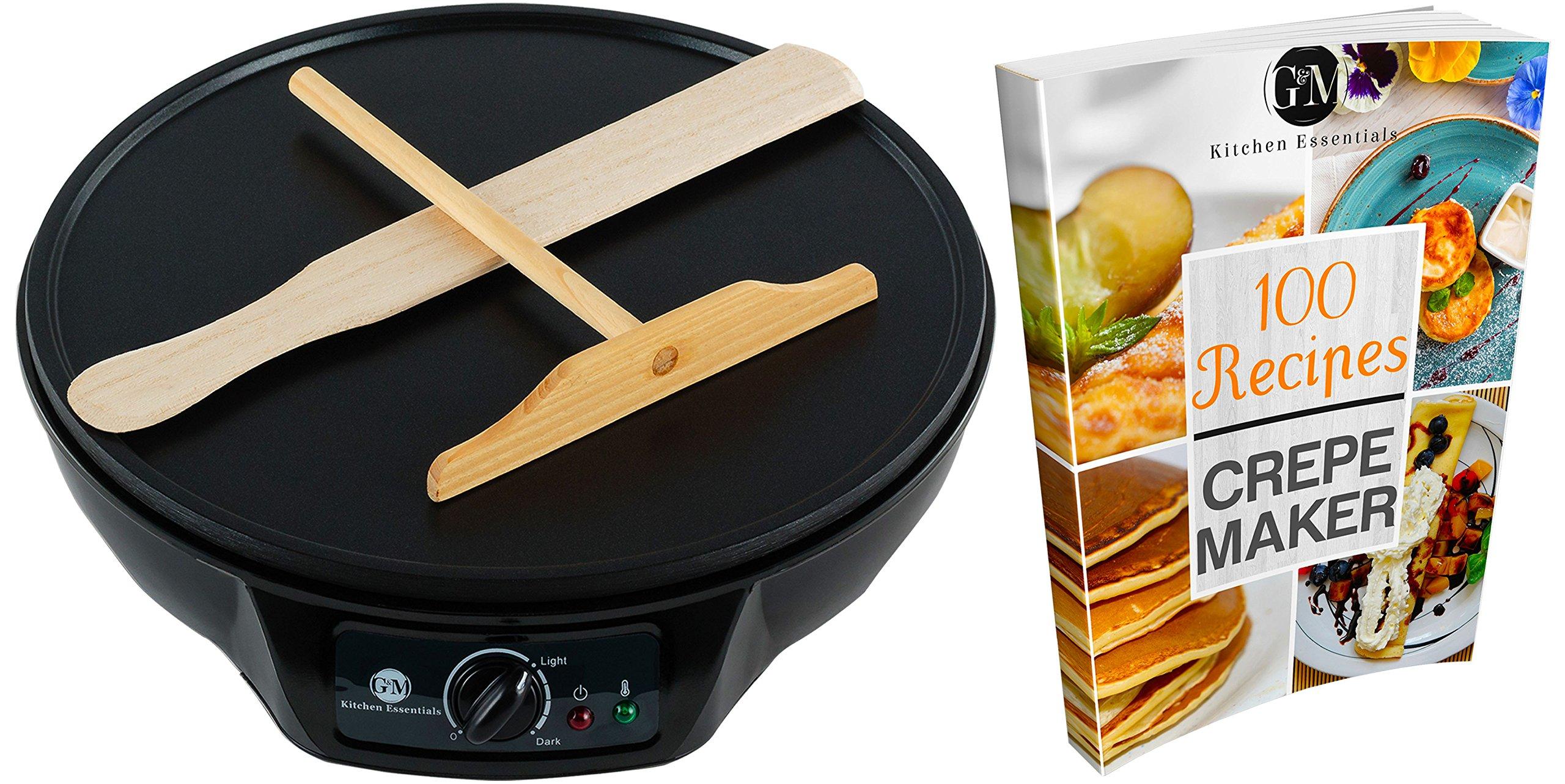 "Professional Crepe Maker Machine by G&M Kitchen Essentials – Non-Stick 12"" Electric Pancake Griddle –Adjustable Temperature Dial – BONUS 100 RECIPE E-COOKBOOK, Batter Spreader & Wooden Spatula"