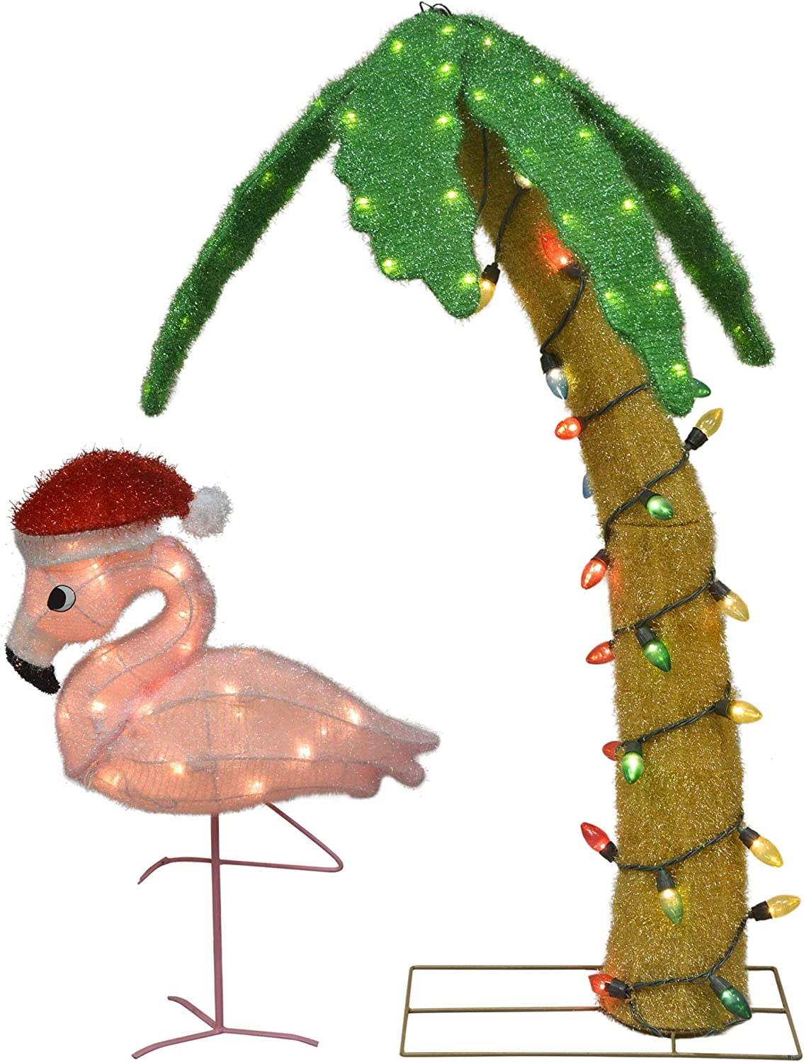 TisYourSeason 42 inch Lighted LED Palm Tree and 24 inch Flamingo with Santa Hat Outdoor Christmas Decor