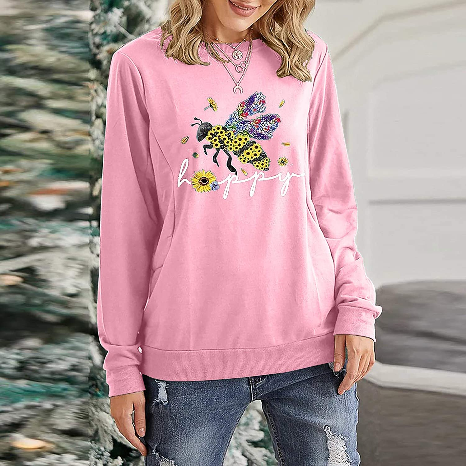 NECHOLOGY Women Loose Butterfly O-Neck Sweatshirts Long Sleeve Pullover Sweater Casual Shirts Sweatshirt Jumper Blouse Tops