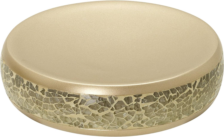 Zenna Home India Ink Huntington Soap Dish, Gold Cracked Glass