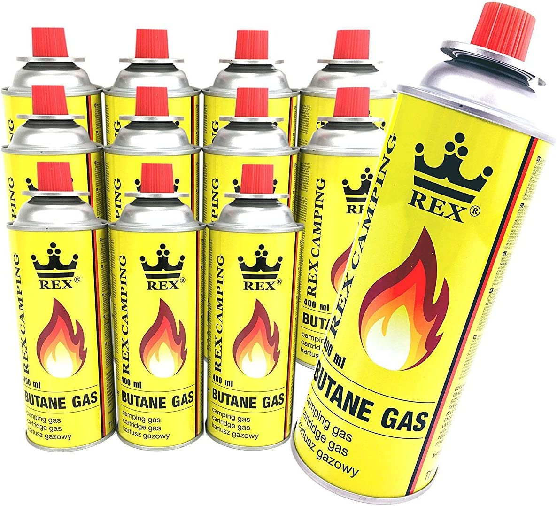 Lote de 12 pack Rex camping gas butano de gas à 227 g Volumen Pro Botella para hervidor de camping exterior Akt