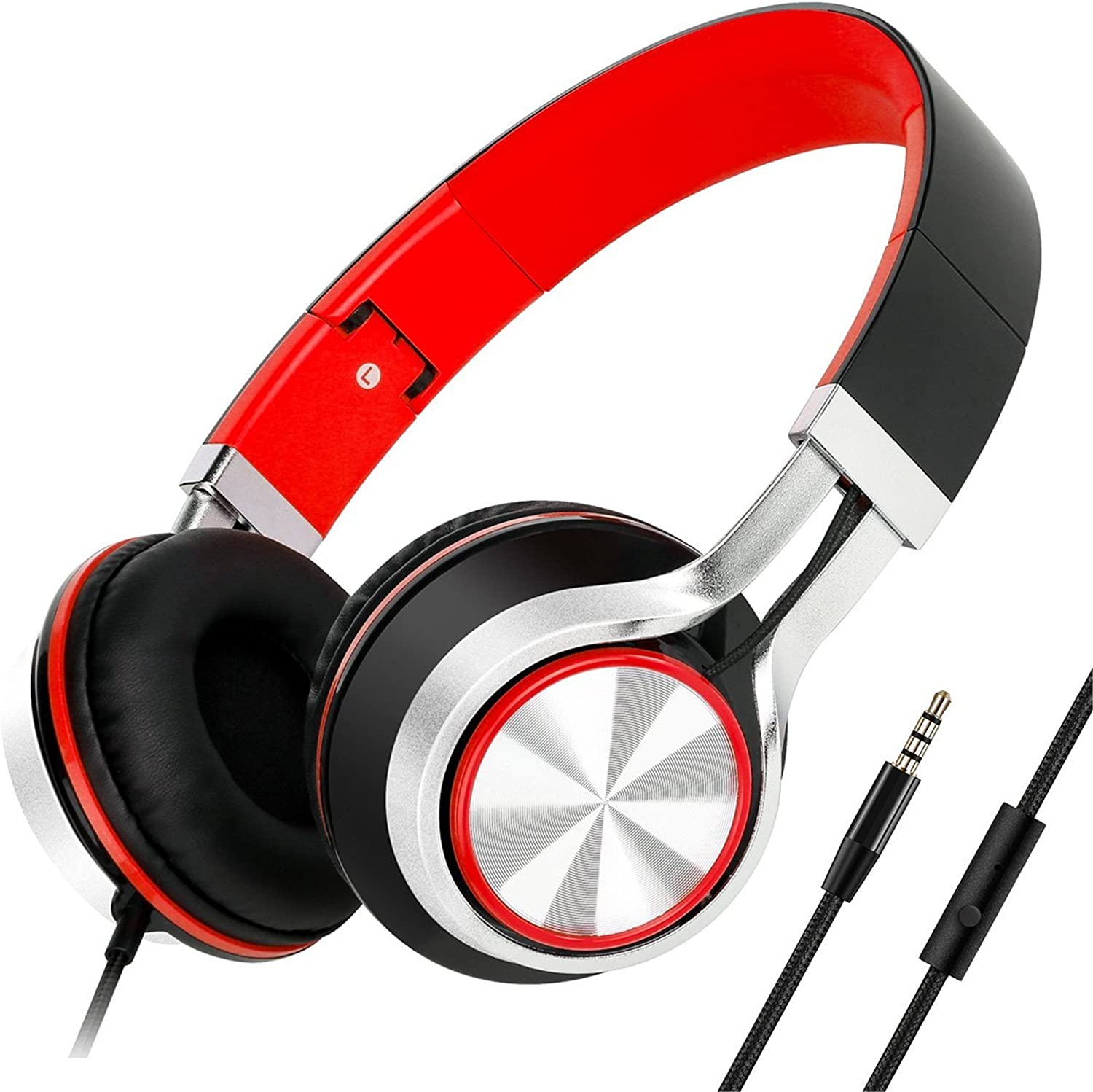 Sound Intone HD200 Headphones with Microphone Lightweight Folding Stereo Earphones for iPhone,PC,Laptop, Android Smartphones,Tablet (Black/Red)