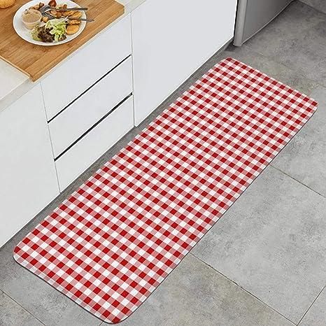 Amazon Com Plaid Printing Red And White Kitchen Mat Natural Fiber Carpets Non Slip Rug Dining