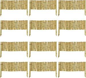 7Penn Bamboo Garden Border Edging, Corrected 12 Pack - 23in Flexible Bamboo Edging Trim Pieces for Landscaping Borders