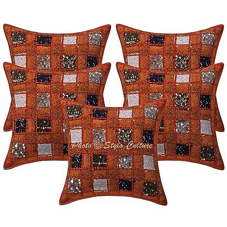 Amazon.com: Algodón Lentejuelas Patchwork fundas de almohada ...