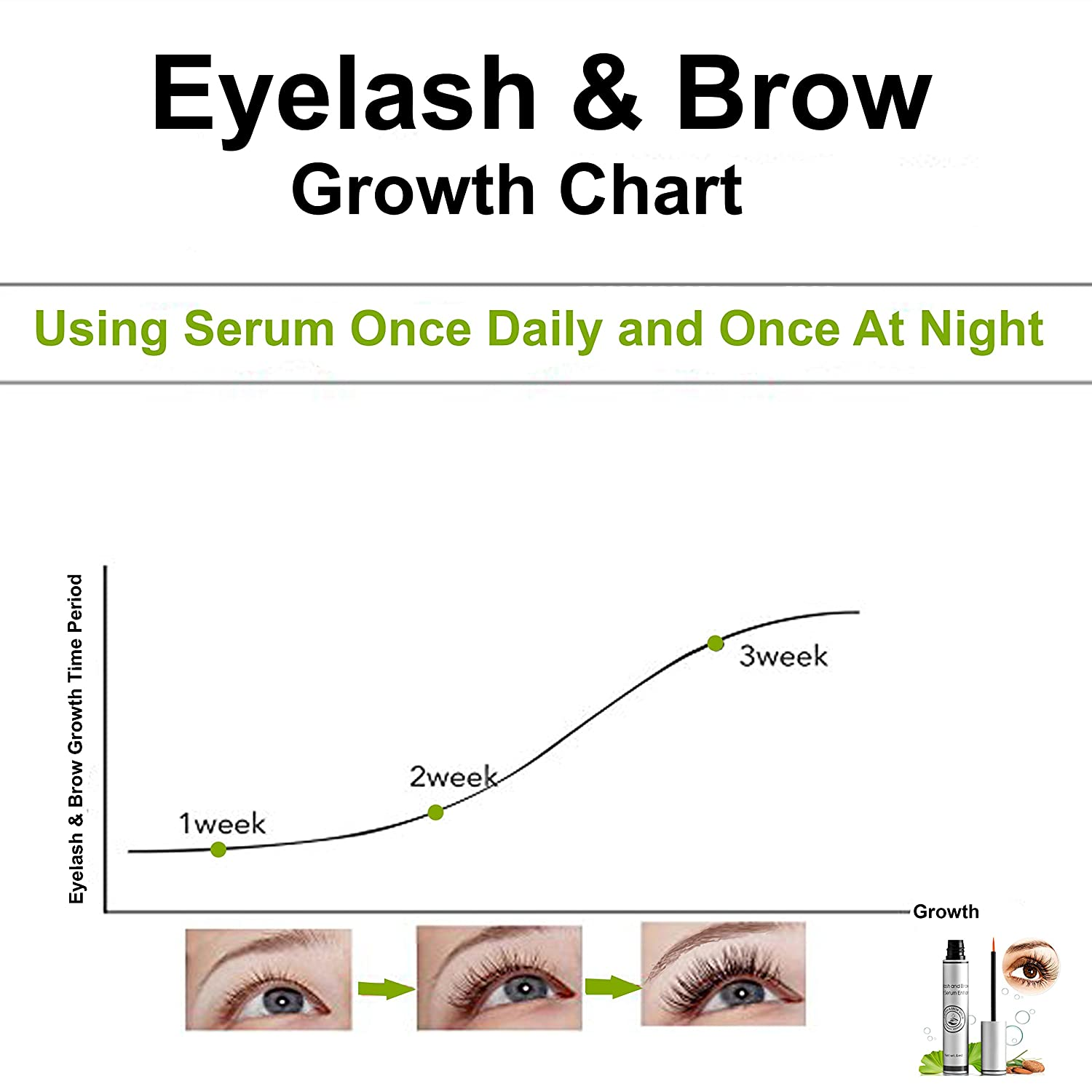 8ac1fe4680e Amazon.com: Natural Eyelash & Brow Growth Serum Booster Gives You Longer  Natural Thicker Looking Eyelashes & Eyebrows | Conditions Repairs &  Stimulates ...