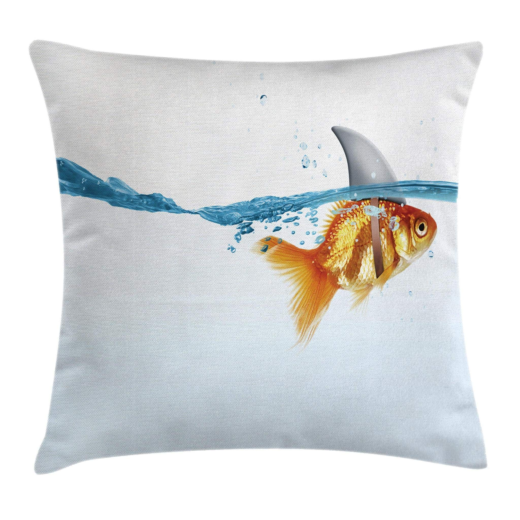 Ambesonne Sea Animal Decor Throw Pillow Cushion Cover by, Goldfish in Water with Shark Fin Scary Predators Tricky Humor Fun Image, Decorative Square Accent Pillow Case, 16 X 16 Inches, Orange Blue