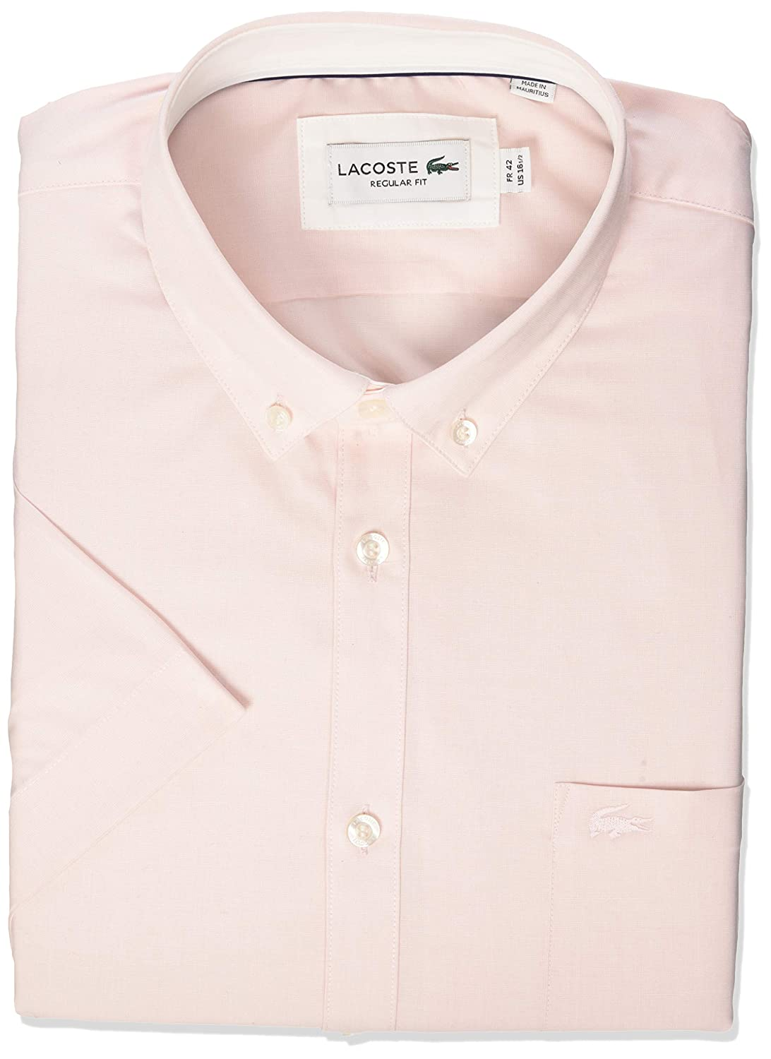 Lacoste Mens S//S Button Down Collar Regular Fit City Woven Shirt