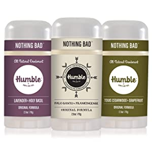 Humble All Natural Deodorant, Aluminum and Paraben Free, Cruelty Free Men's and Women's Deodorant, Assorted, 3-Pack