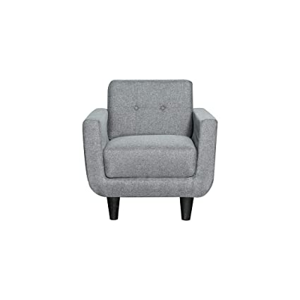 Overstock Grey Linen Fabric Upholstered Mid Century Accent Chair