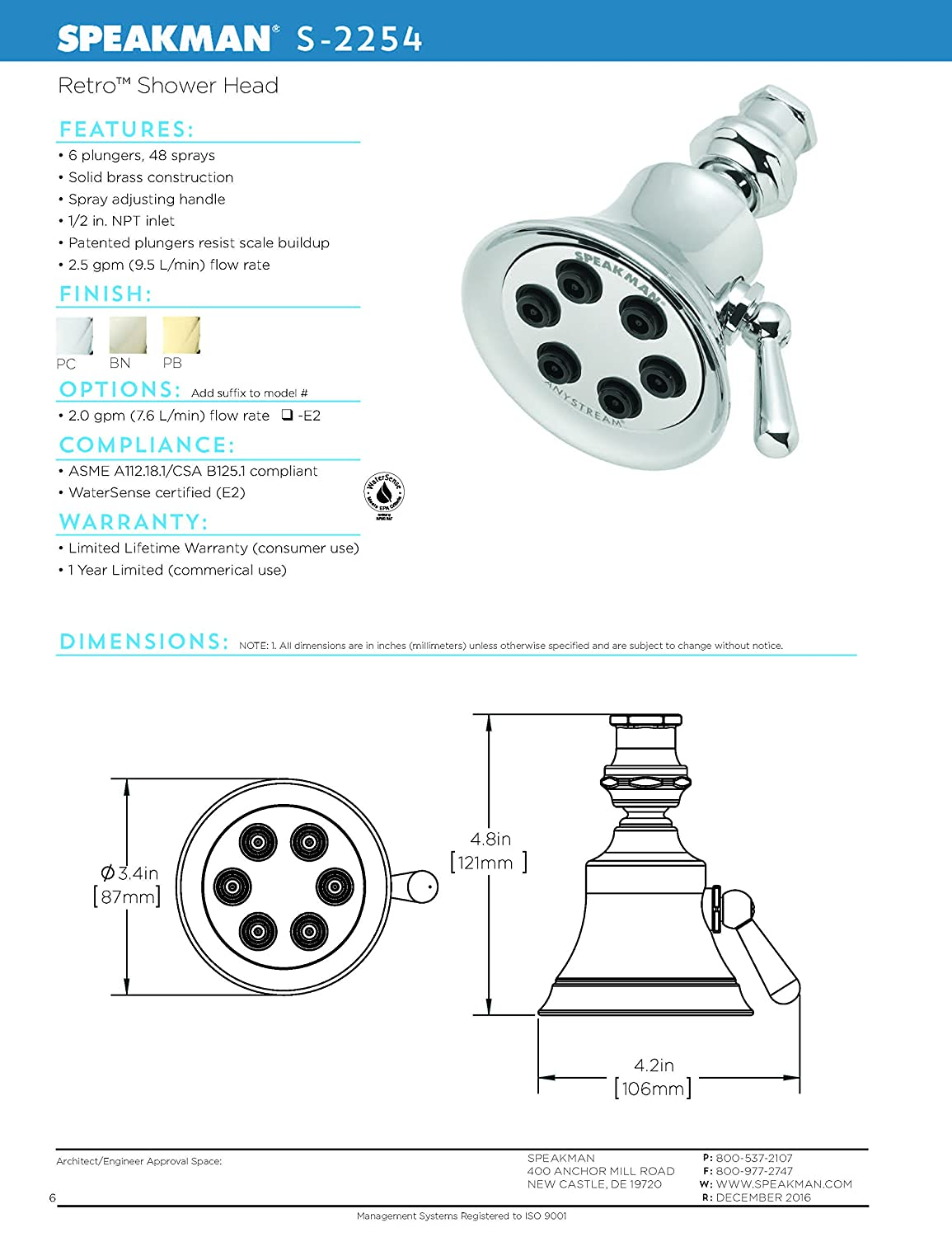 Speakman S 2254 Bn Retro Anystream High Pressure Adjustable 25 Gpm Sink Faucet Water Supply Shutoff Valve Diagram Aaa Service Plumbing Solid Brass Shower Head Brushed Nickel Fixed Showerheads