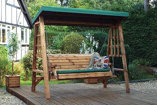 Home Gift Garden - Columpio de jardín de Madera de 3 plazas, Hamaca de jardín de Madera, Columpio de 3 Asientos con toldo: Amazon.es: Jardín