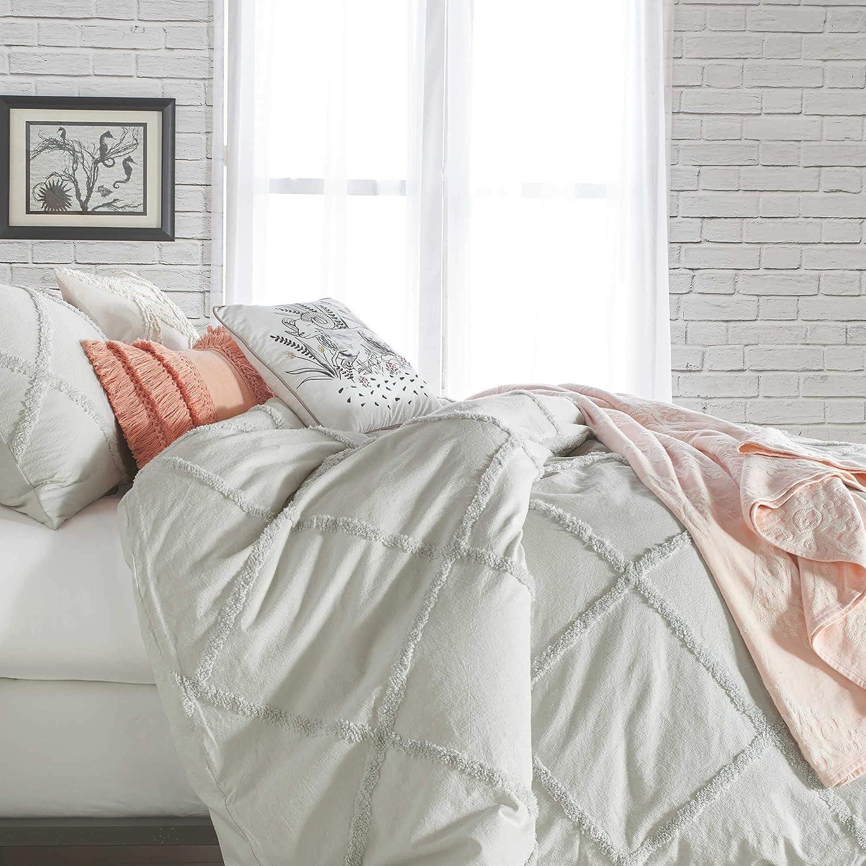 Peri Home Chenille Lattice 2 Piece Twin Comforter Set White