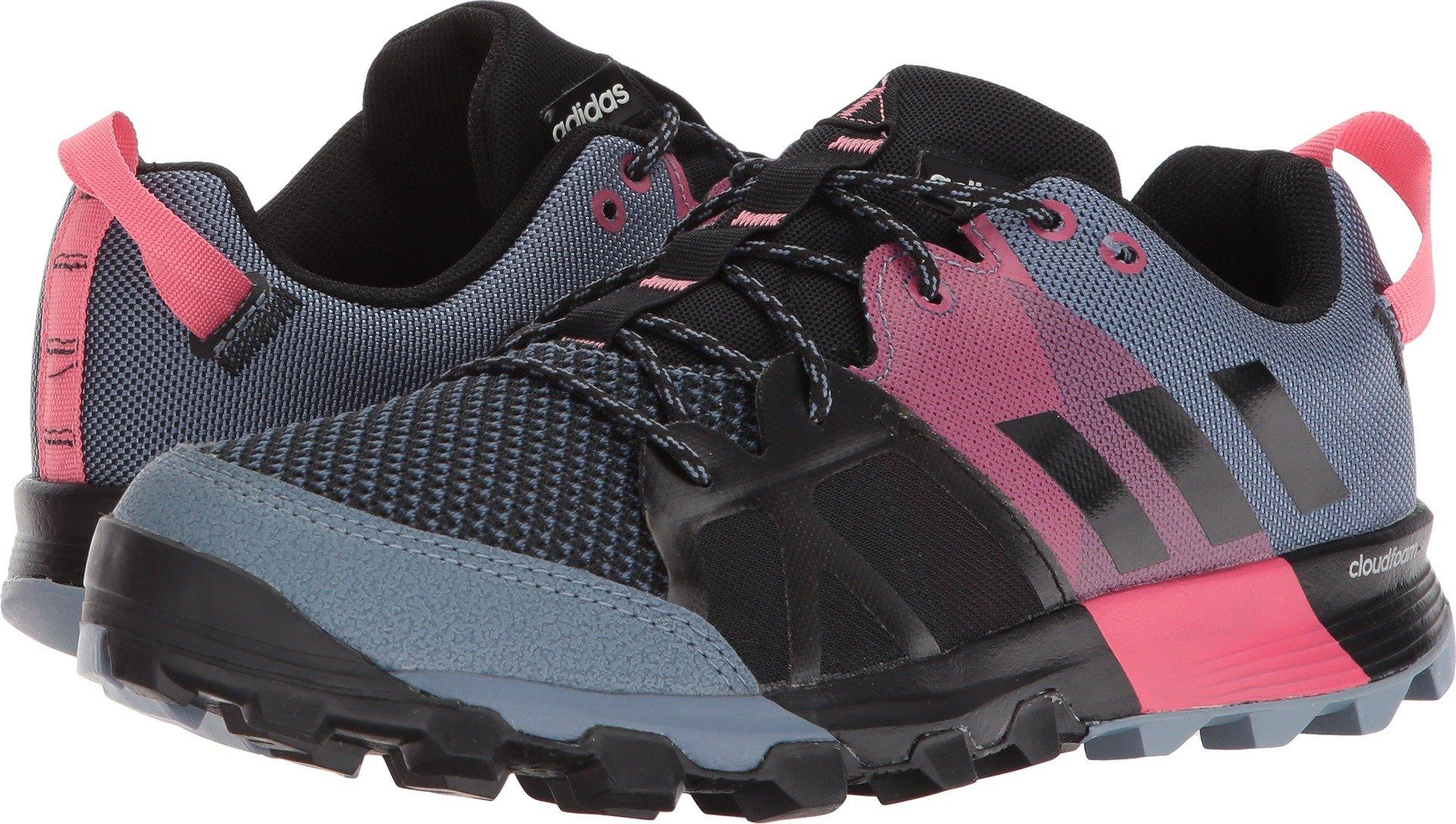 adidas outdoor Women's Kanadia 8.1 W Trail Running Shoe, Raw Steel/Off White/Real Pink, 7.5 M US