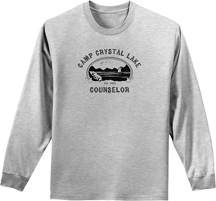17598a966234 TooLoud Camp Crystal Lake Counselor - Friday 13 Adult Long Sleeve Shirt -  Ash Gray -