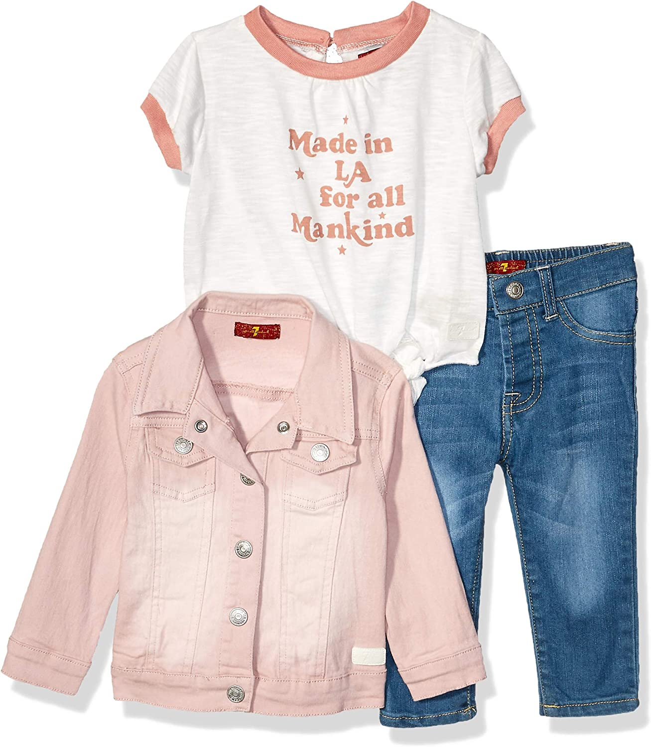 7 FOR ALL MANKIND Baby Girl/'s 3 Piece Set-Poncho,top,Jeans-NWT 18 Months