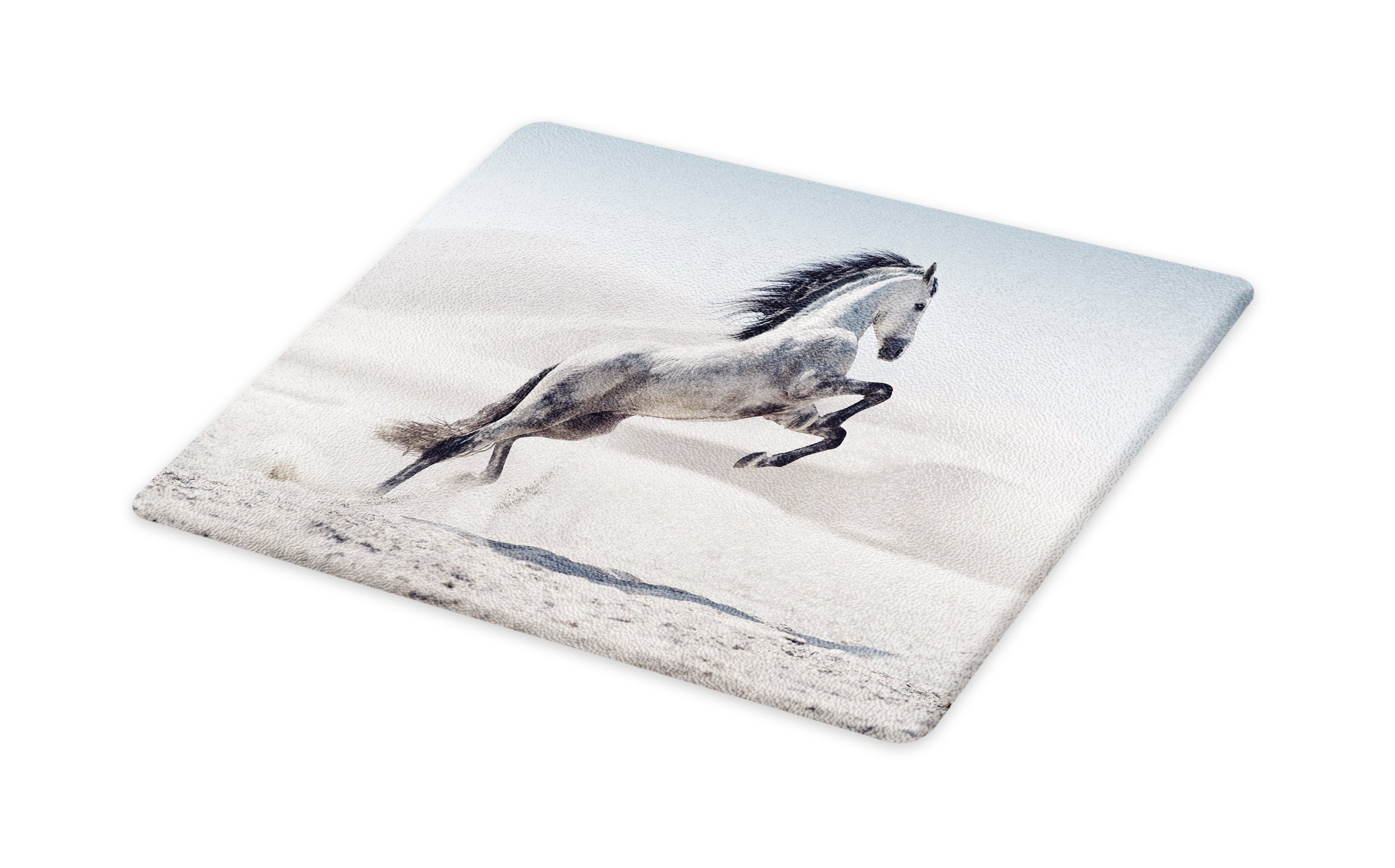 Lunarable Horses Cutting Board, Silver Pony Horse Galloping Over Motion Majestic Wild Animal Power and Grace Theme, Decorative Tempered Glass Cutting and Serving Board, Large Size, Beige Black
