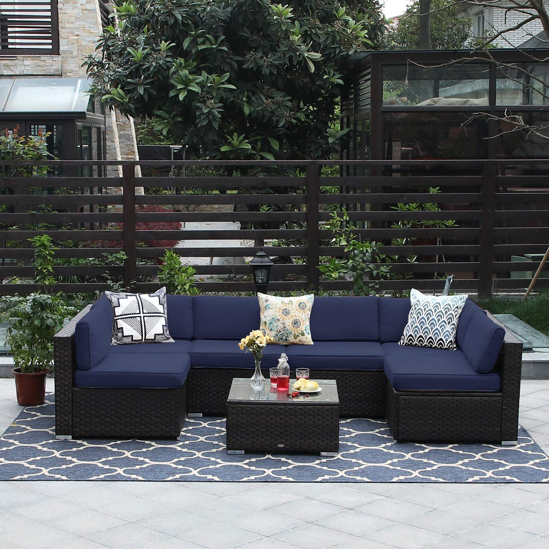 PHI VILLA 7-Piece Outdoor Sectional Sofa Rattan Patio Furniture Set Conversation Set with Ottoman, Blue
