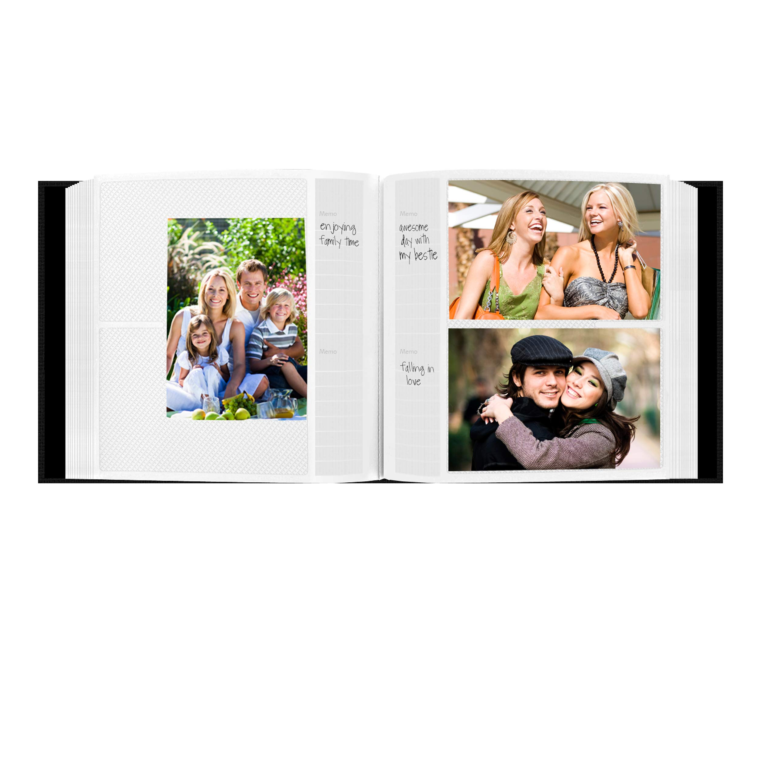 Fabric Frame Cover Photo Album 200 Pockets Hold 4x6 Photos, Deep Black by Pioneer Photo Albums (Image #3)