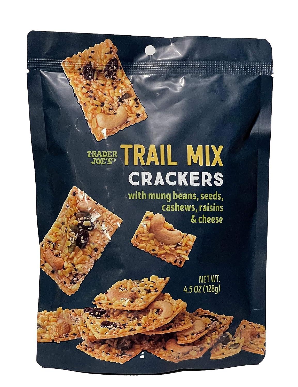 Trader Joe's Trail Mix Crackers with Mung Beans, Seeds, Cashews, Raisins & Cheese - 4.5oz (128g)