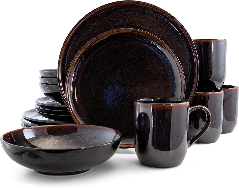 Elama Round Stoneware Dark Contemporary Dinnerware Dish Set, 16 Piece, Metallic Black with Brown Accents