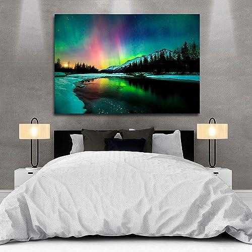 ZENDA Aurora Borealis Canvas Wall Art Northern Lights Painting Landscape Artwork Home Decoration