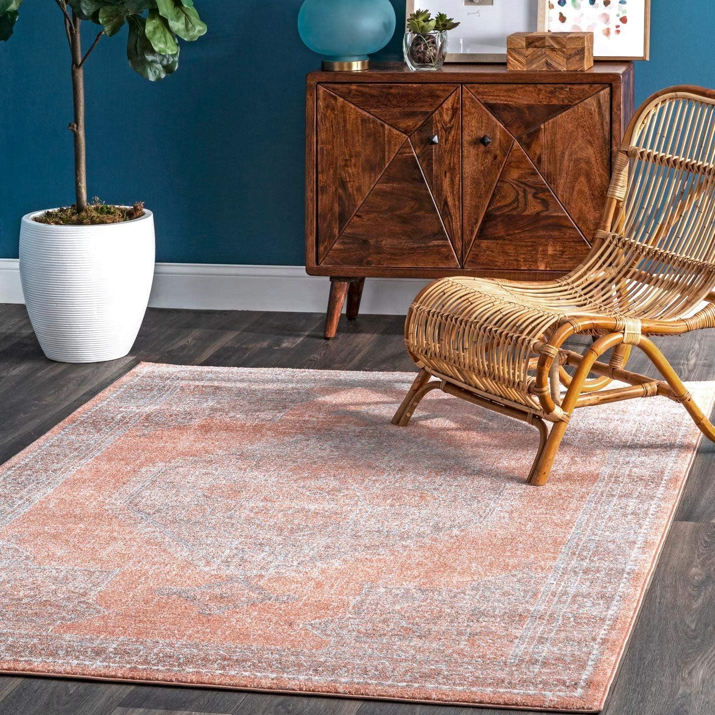 Amazon Com Nuloom Vintage Persian Distressed Isla Area Rug 8 X 10 Rust Furniture Decor