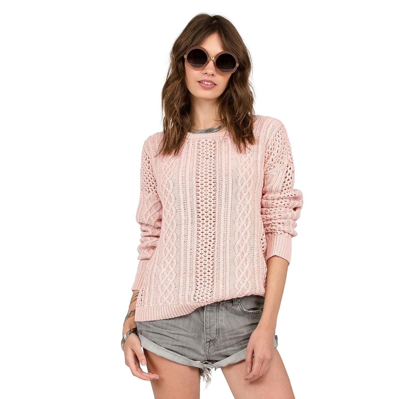 Volcom Women's Mess Round Crew Sweater in Powder Pink