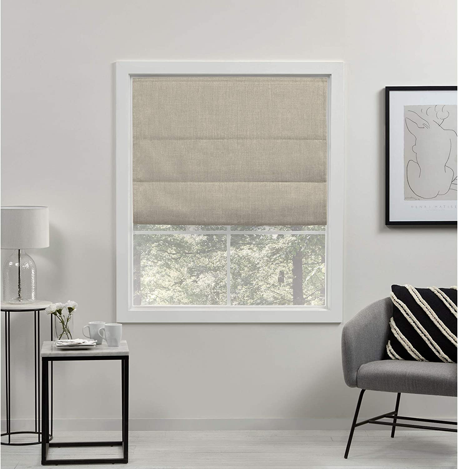 Exclusive Home Curtains Acadia Total Blackout Roman Shade, 34x64, Natural