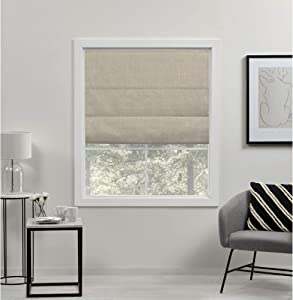 Exclusive Home Curtains Acadia Total Blackout Roman Shade, 31x64, Natural