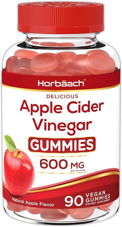 Vegan Apple Cider Vinegar Gummies 600mg | 90 Count | Natural Apple Flavor | Non-GMO, Gluten Free | by Horbaach