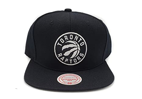 ce77e339c80 Mitchell & Ness Toronto Raptors Current Solid Wool Black Logo Adjustable  Snapback Hat