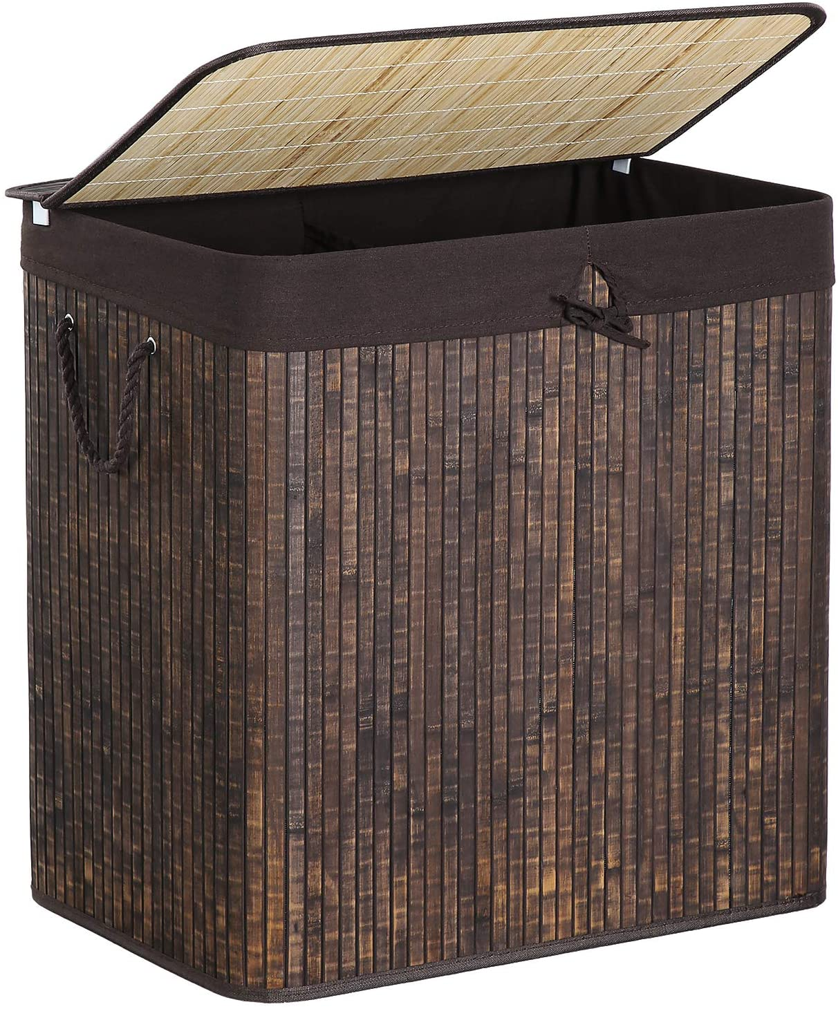 SONGMICS Divided Laundry Hamper, Two-Section Bamboo Laundry Basket Sorter with Removable Liner and Handles, 40 Gal (151L), Rustic Brown ULCB65WN