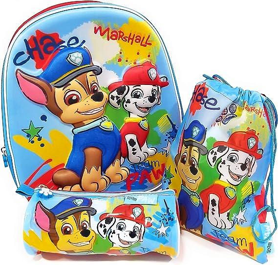 Mochila Patrulla Canina 3D Infantil para niños (31 cms) + Estuche Patrulla Canina Portatodo + Bolsa Paw Patrol para Merienda: Amazon.es: Equipaje