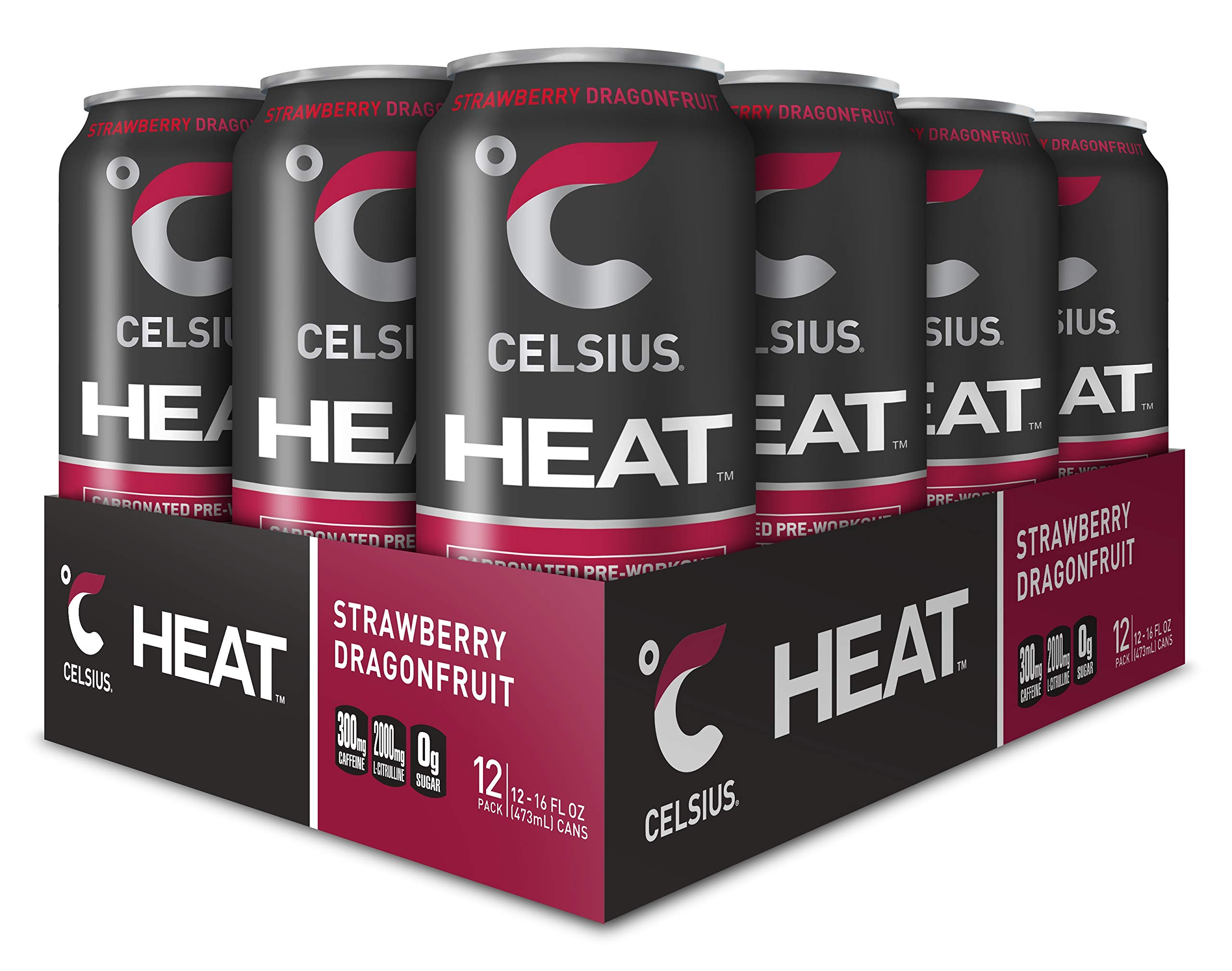 CELSIUS HEAT Strawberry Dragonfruit Performance Energy Drink, ZERO Sugar, 16oz. Can, 12 Pack by CELSIUS