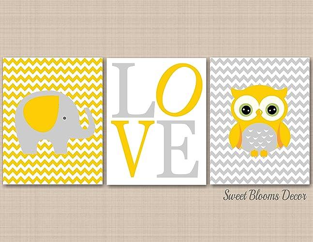 Amazon.com: Neutral Nursery Wall Art, Owl Elephant Wall Art,Yellow ...