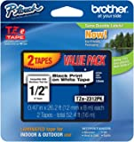 Brother Laminated Black On White Tape 4Pack (TZe2312PK)
