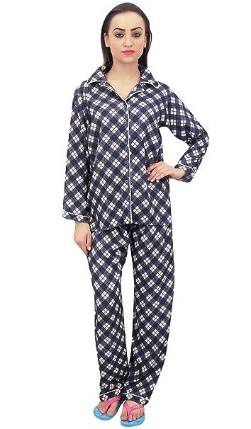 30c43a1f72 Bimba 2 Piezas Camisa De Mujer con Estampado De Cuadros Azul Marino con  Pantalones De Pijama