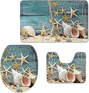 HUGS IDEA Seashell Pattern 3 Piece Bathroom Rug Set Inculded Toilet Seat Cover Bath Mat Lid Toilet Cover