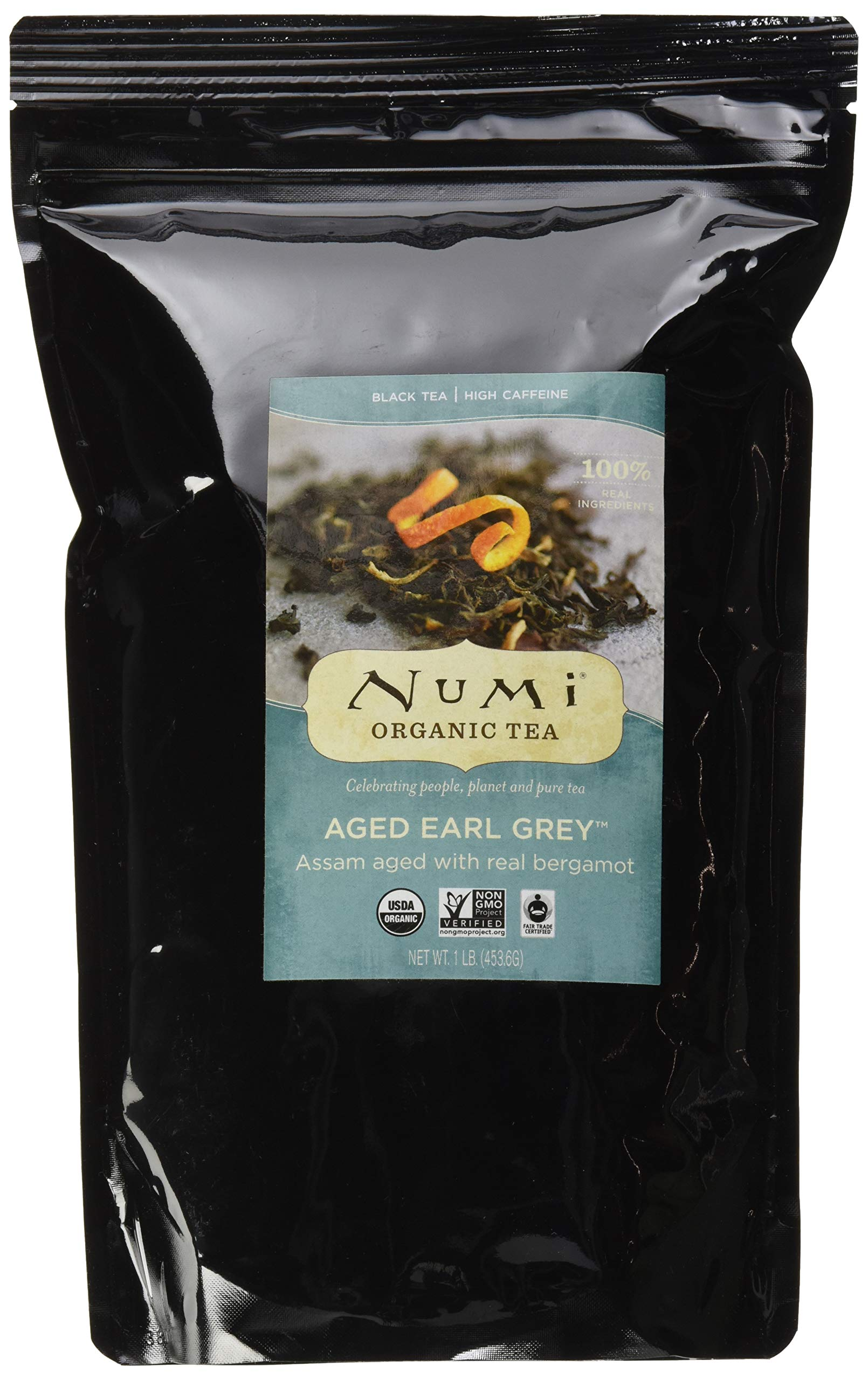 Numi Organic Tea Aged Earl Grey, 16 Ounce Pouch, Loose Leaf Black Tea (Packaging May Vary) by Numi