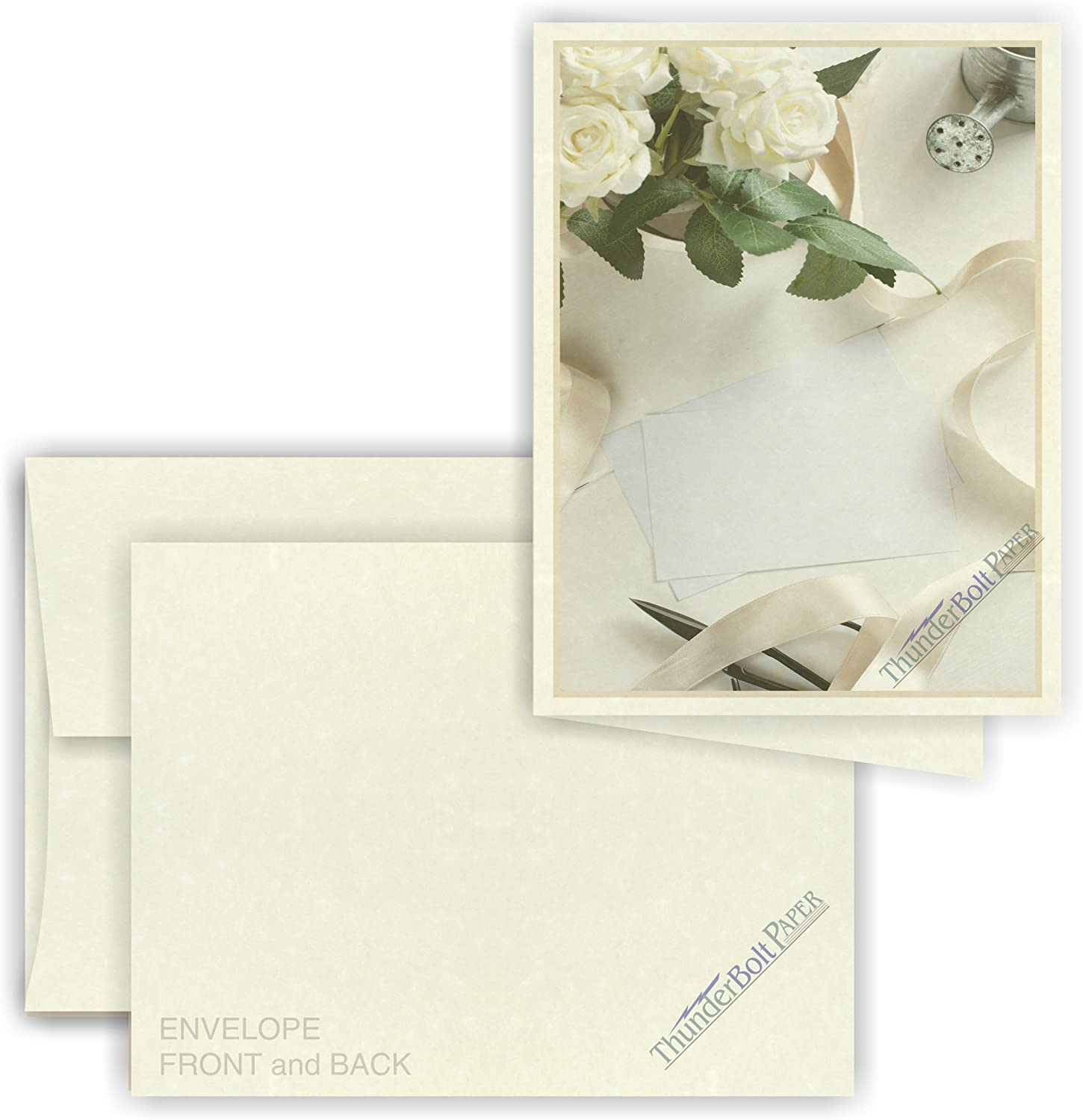 5X7 Folded Size with A-7 Envelopes - Off White Parchment - 50 Sets (10X7 Cards Scored to Fold in Half) Matching Pack - Invitations, Greeting, Thank You, Notes, Holidays, Weddings, Birthdays : Office Products