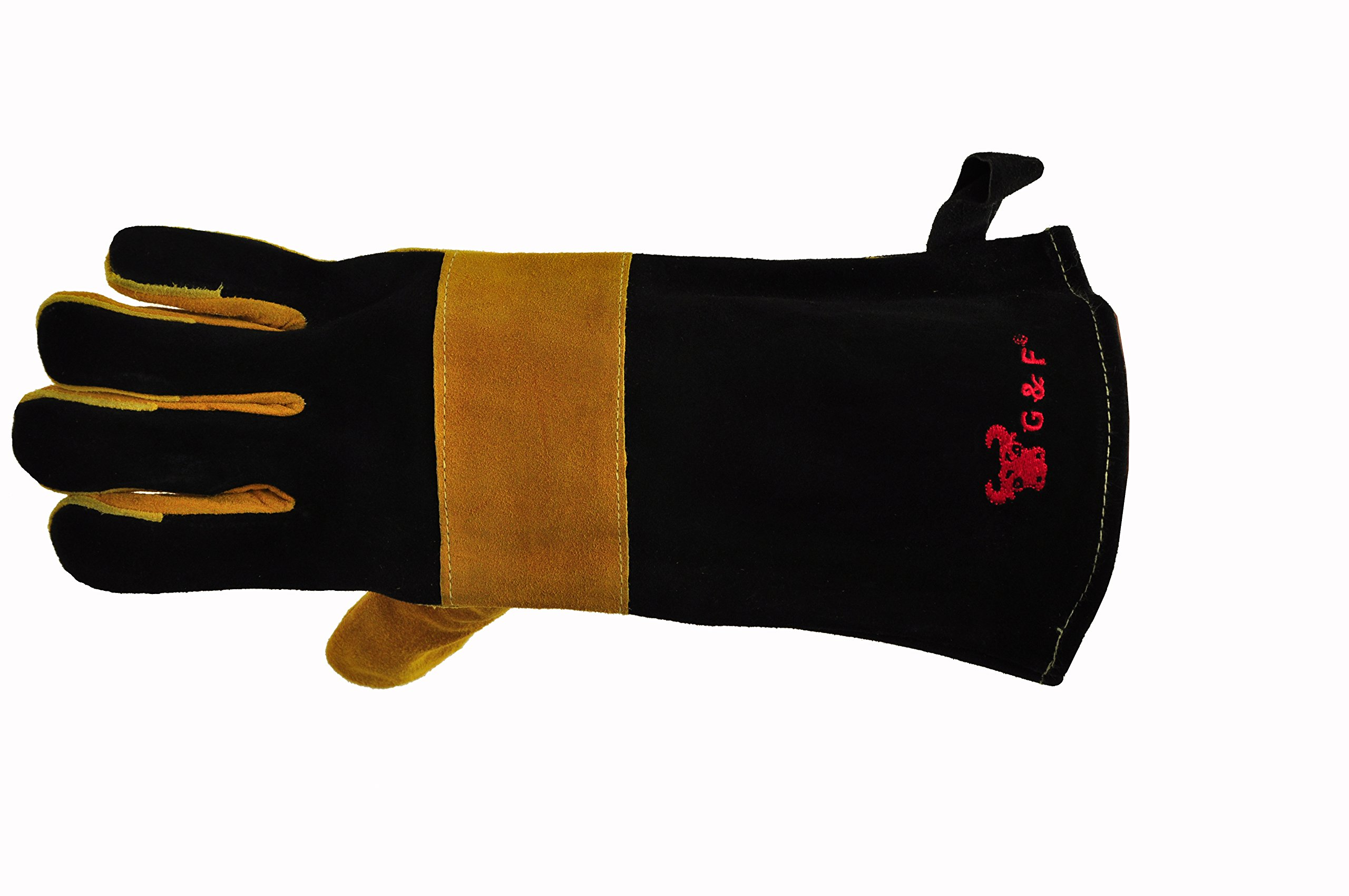 G & F 8113suedeleather Premium Suede Leather Gloves, BBQ Gloves, Grill Gloves, Fireplace Gloves, Cotton Lining with 14.5'' Extra Long Sleeve Heat Resistant Gloves,