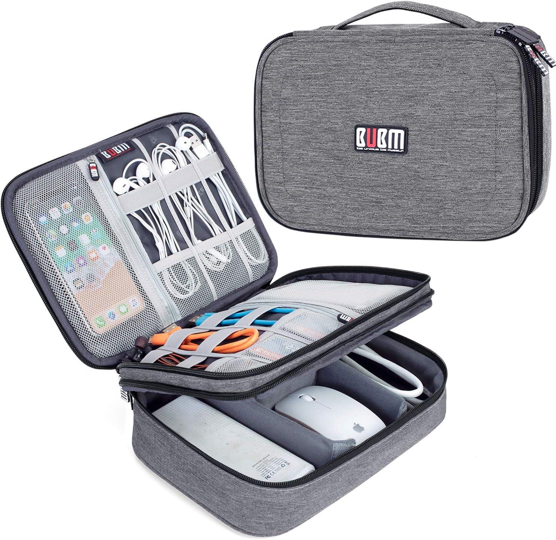 BUBM Estuche para Eléctricas Organizador de Accesesorio Bolsa de Viaje para Cables Cargador,Gadget de Memoria USB Bolsillo para iPad Mini(Largo, Vaquero Gris): Amazon.es: Electrónica