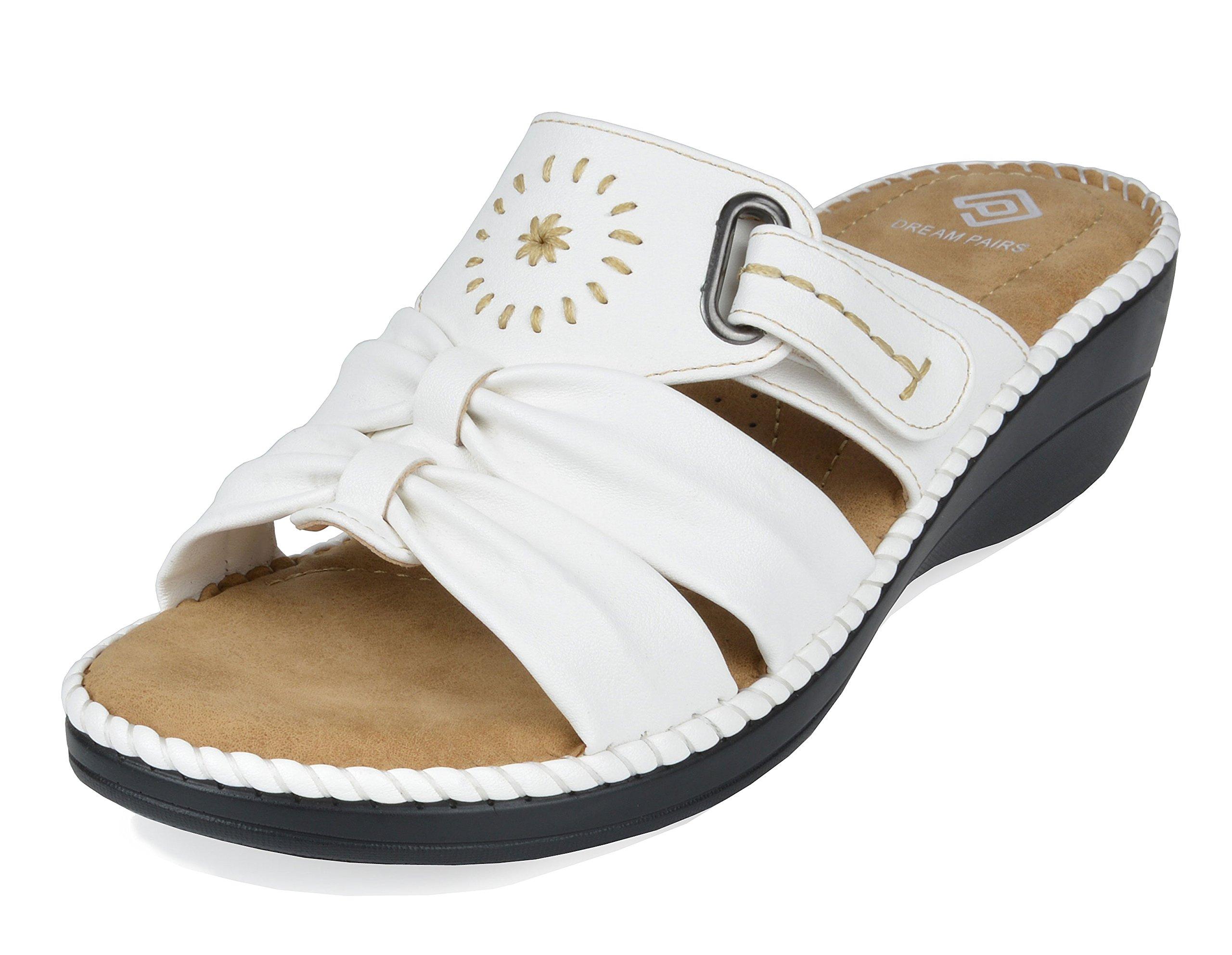 DREAM PAIRS Women's Truesoft_08 White Low Platform Wedges Slides Sandals Size 7.5 B(M) US