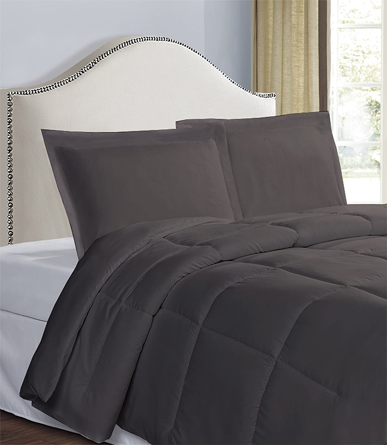 Black 2 Pack Standard Today/'s Home Pillow Shams Soft Microfiber Tailored Classic Styling