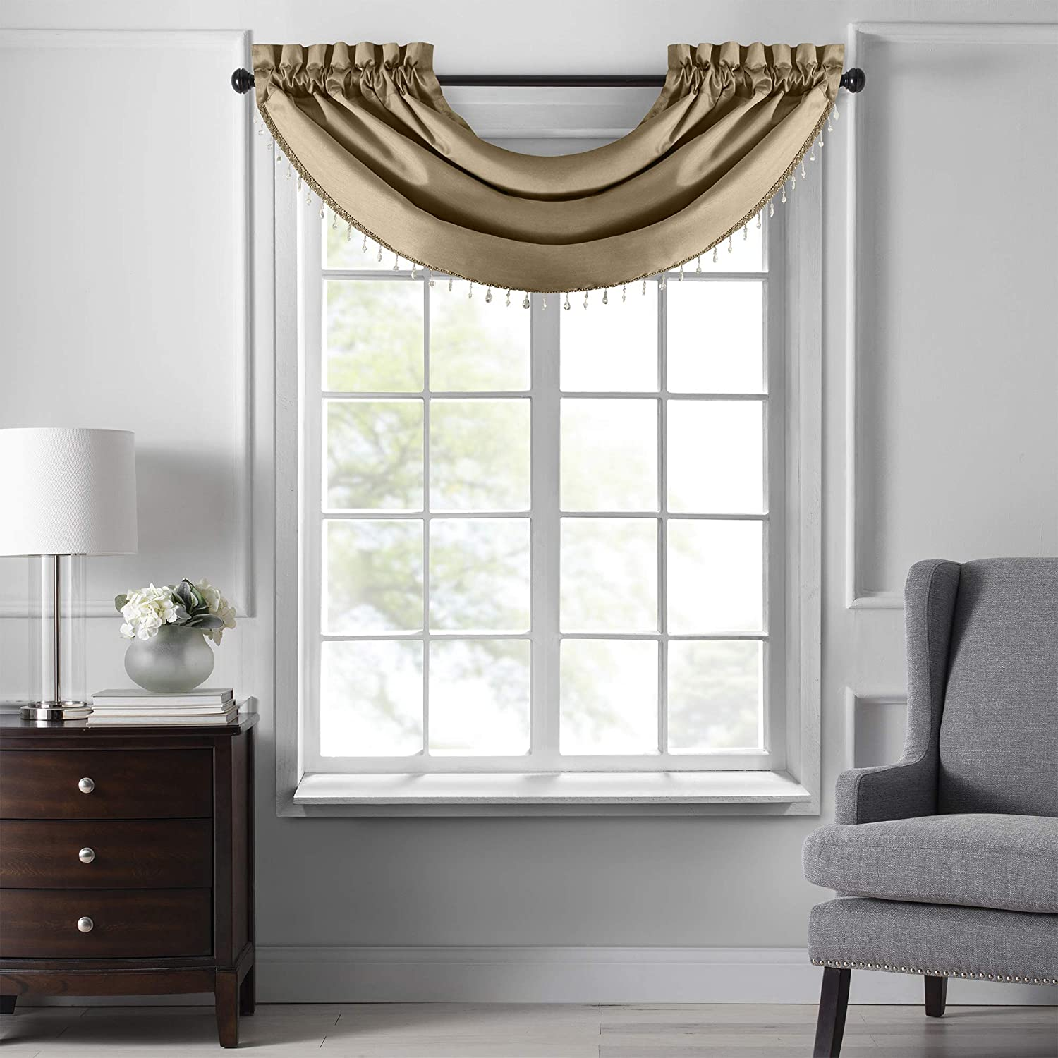 Elrene Home Fashions Colette Faux Silk Waterfall Beaded Window Valance, 42