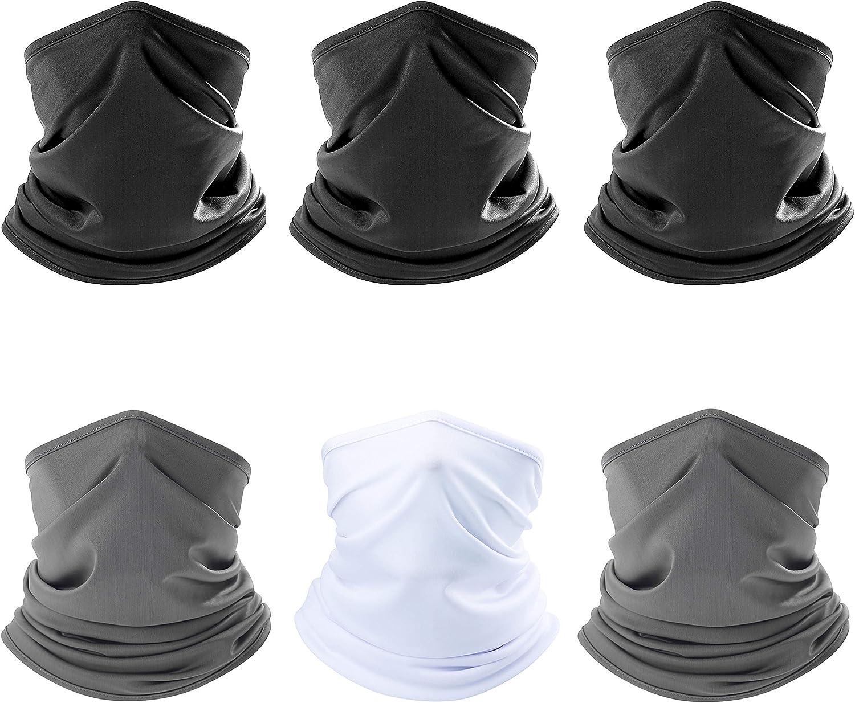 ZERDOCEAN 6Pack Neck Gaiter Scarf Bandanas Motorcycle Balaclava Headwear Neckwarmer