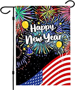 Happy New Year Garden Flag,New Years Flag 12.5 x 18 Inch Double Sided Happy New Year House Flag for New Year Greettings or Decoration